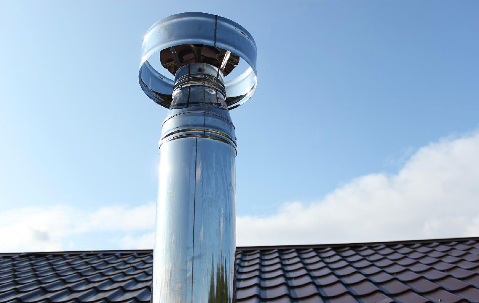 Дефлектор на дымоходе для защиты от задуваний и осадков