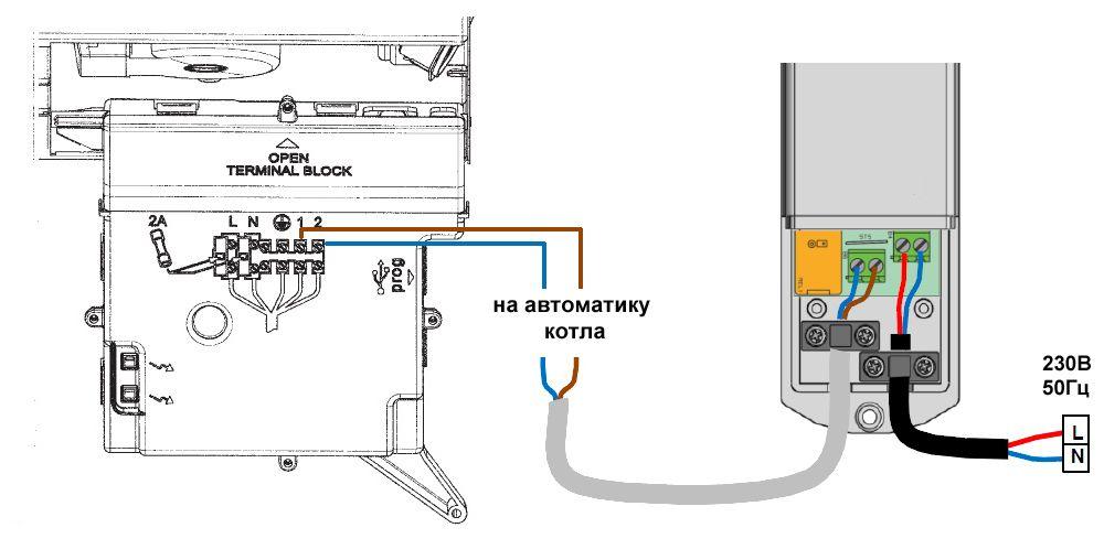 Подключение термостата к электрокотлу и к электросети