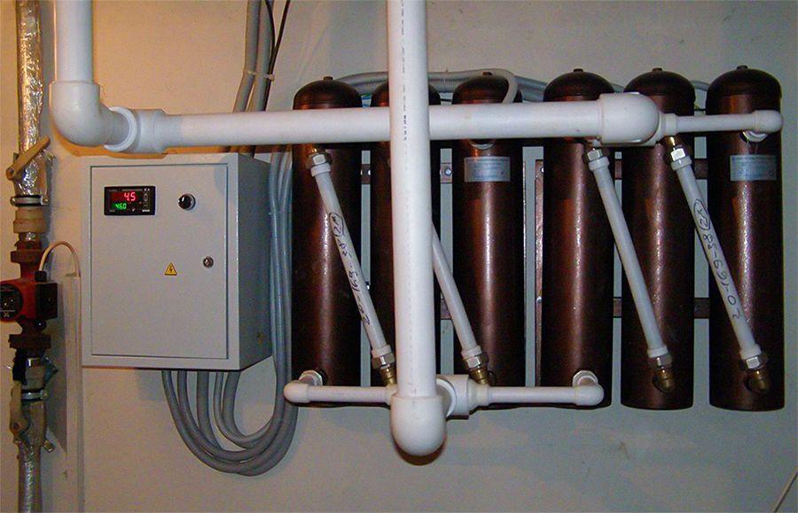 Схема из нескольких индукционных электрокотлов