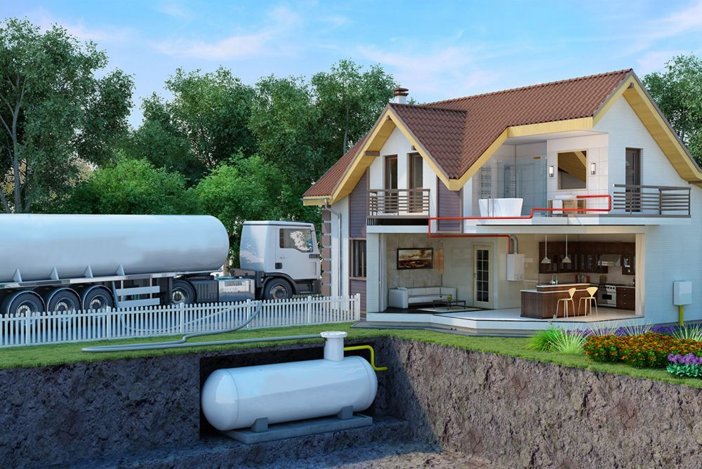 Газгольдер на территории частного дома