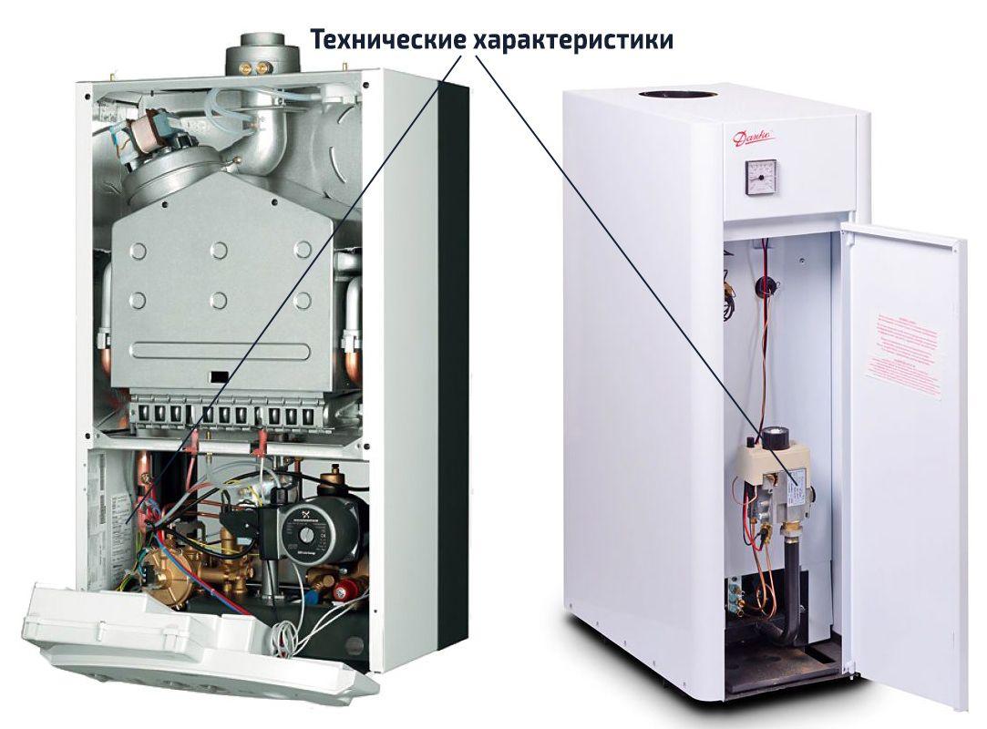 Технические характеристики на корпусе котла