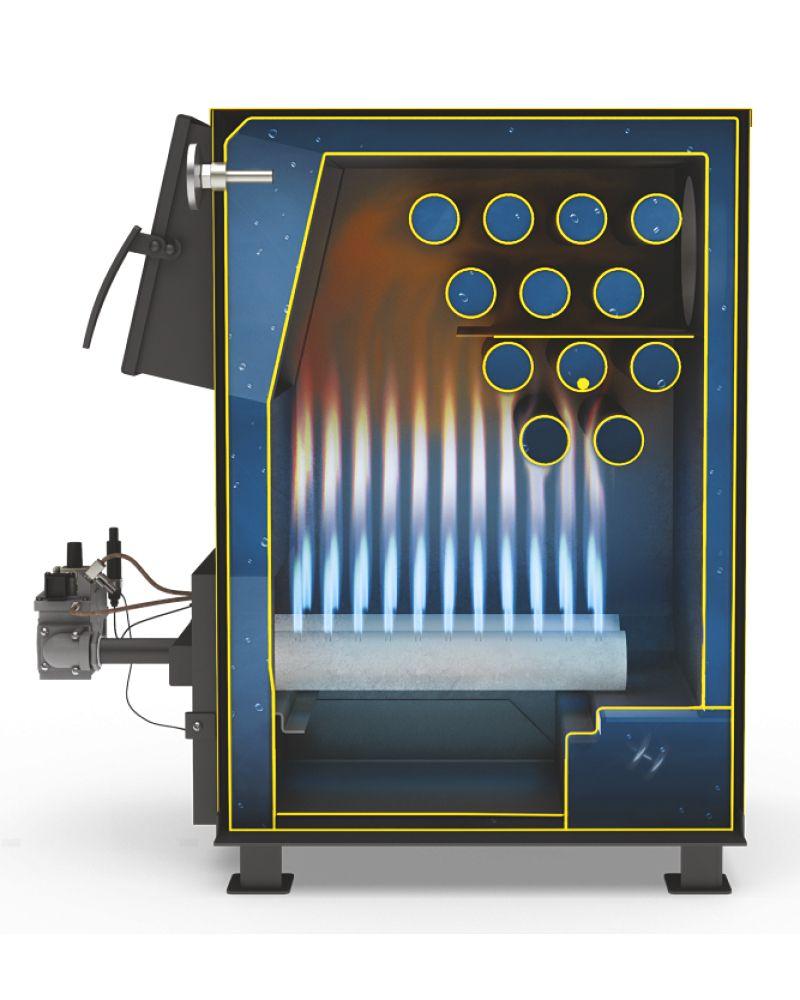 Устройство комбинированного котла газ-дрова