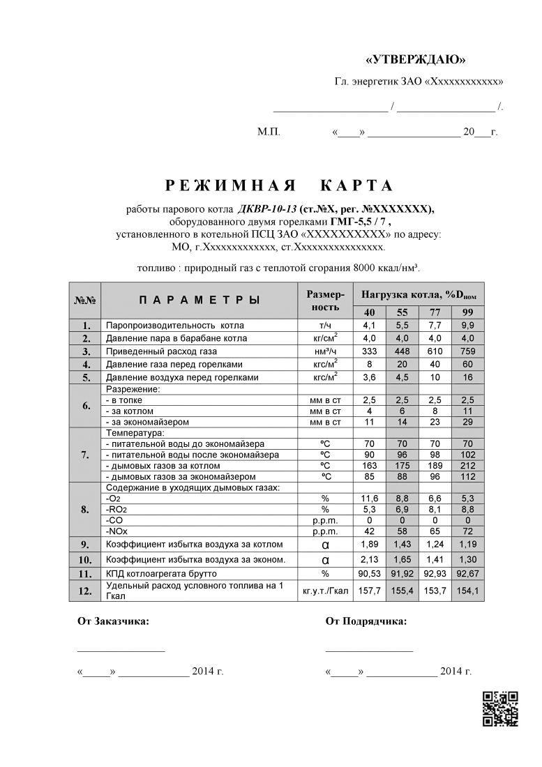 Образец для газового парового котлоагрегата ДКВР-10-13
