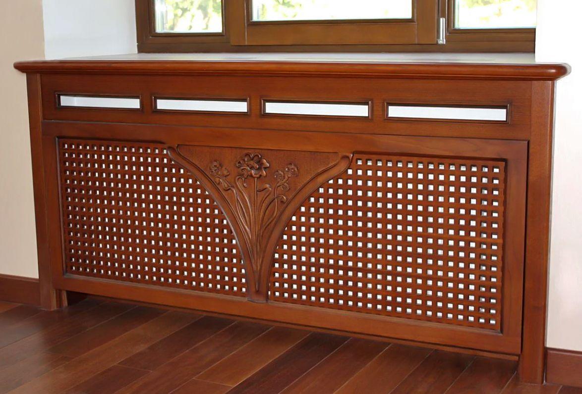 Деревянный экран на батарею отопления_1